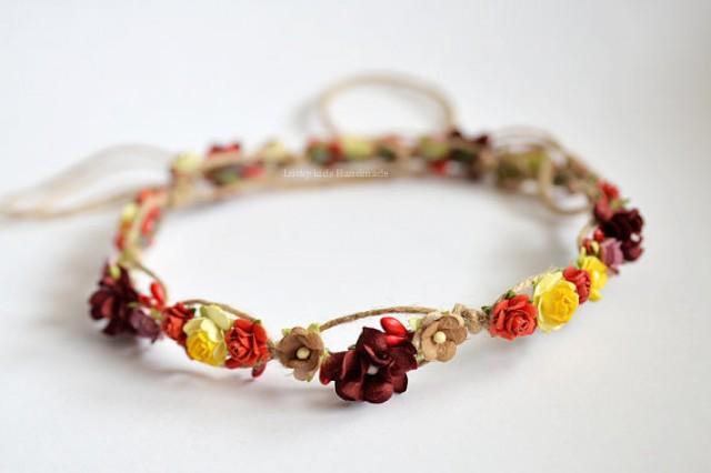 wedding photo - Burgundy wedding - Burgundy yellow flower crown - Red floral crown - yellow red boho crown - rustic crown wedding - rustic burgundy halo