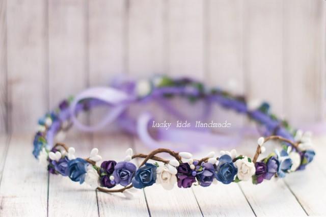 wedding photo - Bridesmaid hair accessories, Violet hair wreath, Floral crown, Flower crown wedding, Purple flower crown, Flower headband, Bridal wreath