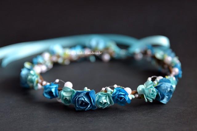 wedding photo - Blue flower crown - Blue Floral crown - Wedding halo - Flower girls halo - Blue hair wreath - Blue Boho crown - Blue Bridal Headpiece