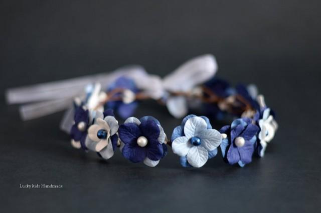 wedding photo - Royal blue Flower crown, Something Blue Halo, Blue Flower Crown, Blue Bridal Halo, Bridal Royal Blue Crown, Blue Roses Headpiece Blue Flower