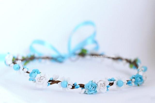 wedding photo - Flower Crown in white and blue, White blue woodland crown, Flower girl Crown, Beach Wedding, Turquoise floral crown, Something blue halo
