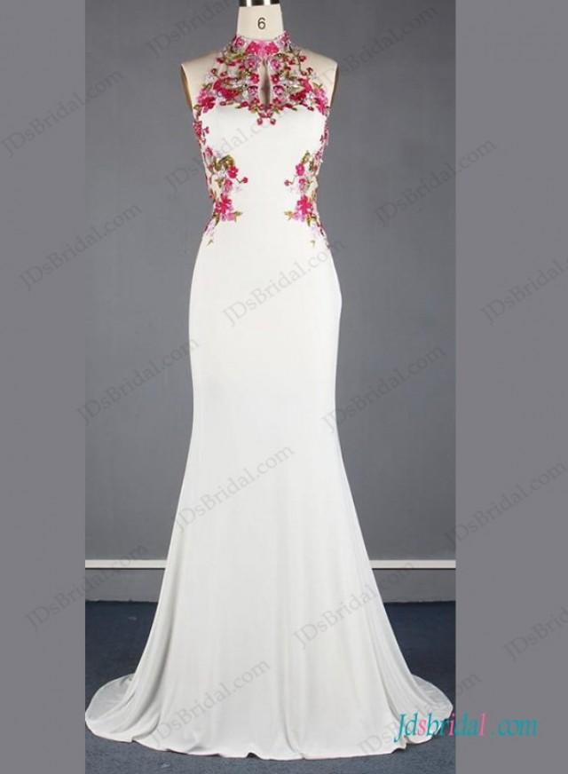 wedding photo - Unique chinese style halter backless mermaid wedding dress