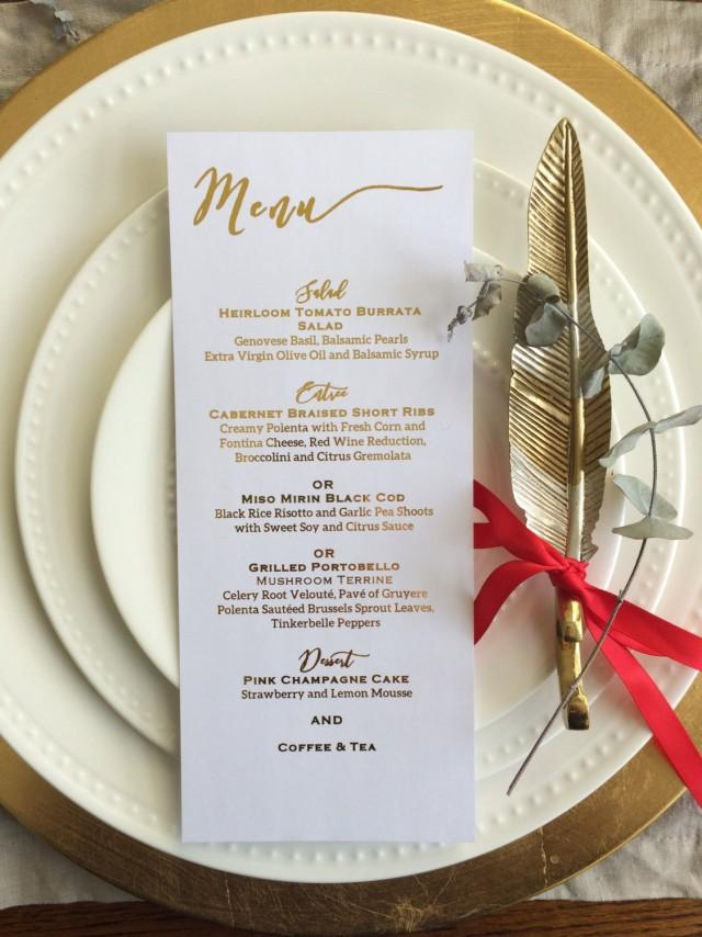 Gold foil menu card dinner menu wedding menu wedding menu for Table 6 brunch menu