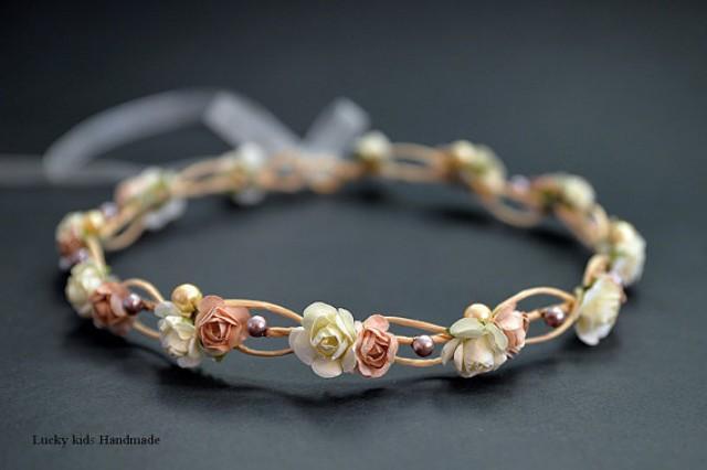 wedding photo - Cream Flower Crown - Cream Flower Headband - Neutral Floral crown - Crown with pearls - Cream natural halo -Boho crown - Wedding accessories