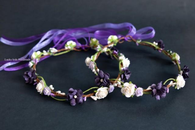 wedding photo - Dark Purple flower crown, Plum floral crown, Hair wreath Floral crown, Flower girl Boho crown, Plum Halo Violet floral crown Hippie Headband