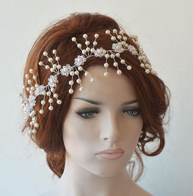 wedding photo - Pearl Headpiece, Bridal Headpiece, Pearl Hair Accessories , Bridal Hair Jewelry, Wedding Headband, Wedding Hair Accessory