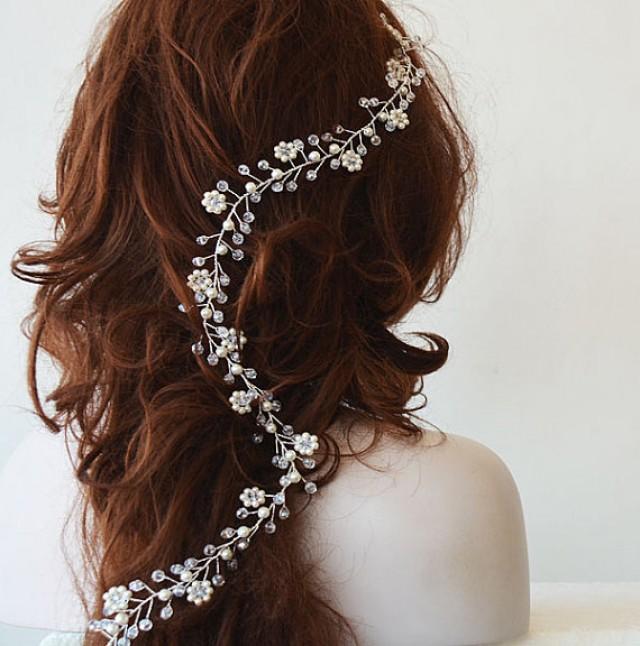 wedding photo - Bridal Hair Vine, Wedding hair vine, Pearl hair vine, Long Pearl hair vine, Bohemian bridal headpiece, Hair Accessories, Hair Jewelry