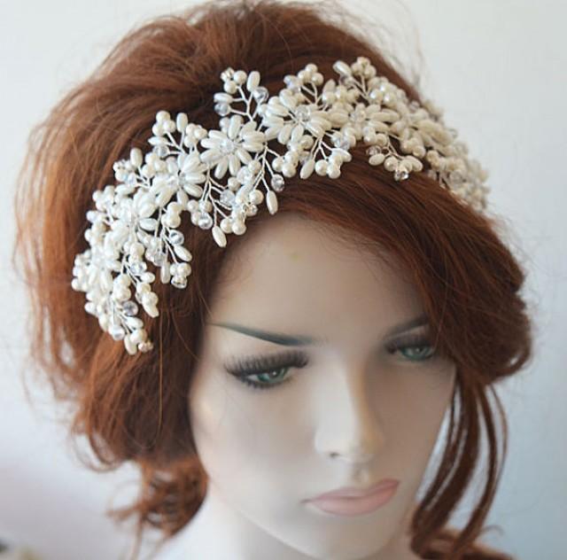 wedding photo - Bridal Headband, Wedding Pearl Headband, Wedding Headpiece, Bridal Tiara, Bridal Jewelry, Hair Accessories, Wedding Hair Accessories