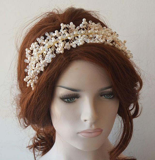 wedding photo - Pearl Headpiece, Wedding Pearl Headband, Wedding Headpiece, Bridal Tiara, Bridal Jewelry