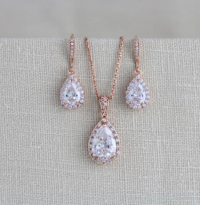 wedding photo - Rose gold Bridal jewelry