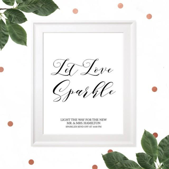 wedding photo - Let love Sparkle Sign-Printable Sparkle Send Off Wedding Sign-Rustic Calligraphy Personalized Sparkle Send Off Sign-Sparkles DIY Sign-