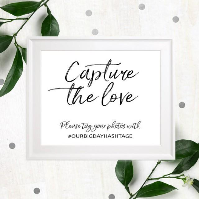 wedding photo - Wedding hashtag rustic chic sign-Personalized Help us capture the love wedding sign-Wedding social media stylish Hand lettered Wedding Sign