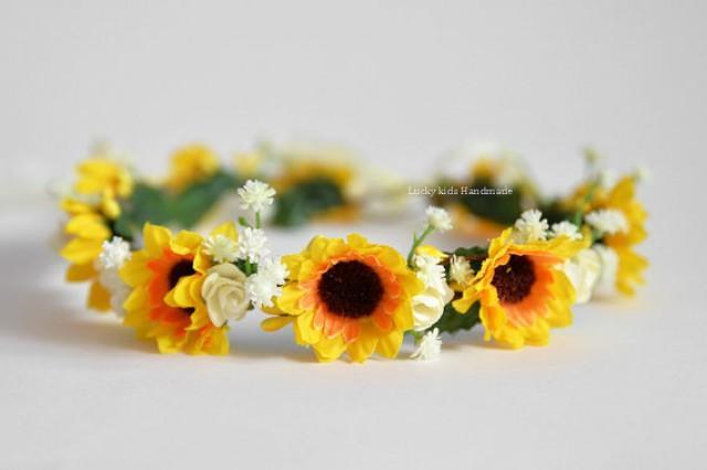 wedding photo - Sunflower Flower Crown - Sunflower Hair Wreath - Autumn Sunflower Photos - Sunflower headband- Fall Wedding Crown - Wedding accessories -