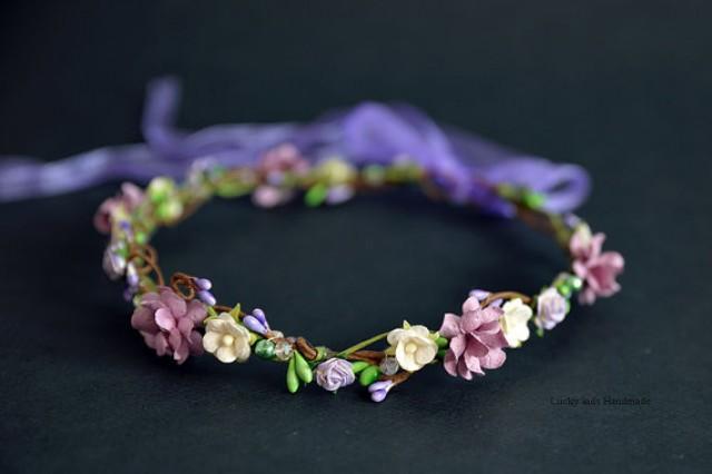 wedding photo - Purple Green Flower Crown - Flower Girls - Floral crown - Flower Headband - Berries hair wreath - Berries headpiece
