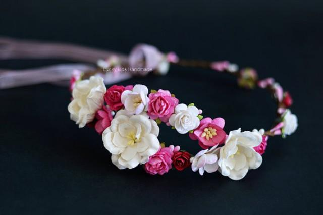 wedding photo - White and hot pink flower crown - Wedding flower crown - Hot pink white roses hair wreath - Pink wedding floral halo - Boho crown - Flowers
