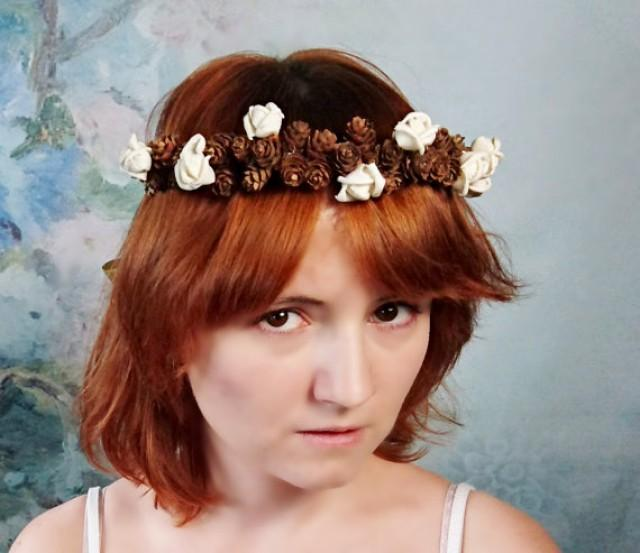 Pine cone CROWN / WREATH ivory sola flowers rustic wedding gold ribbon Flower girl Bride fall autumn