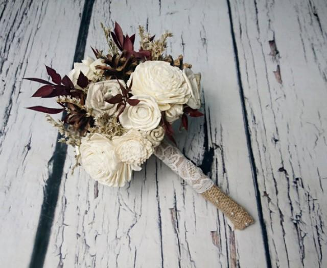 Winter autumn wedding rustic woodland small bridal bridesmaid BOUQUET ivory Flowers pine cones sola roses burgundy leafs lace pearl pins