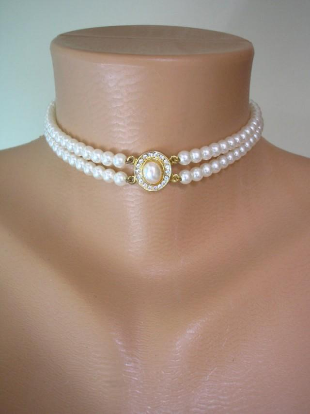 wedding photo - Pearl Choker, Great Gatsby, Pearl Necklace, 2 Strand Pearls, Ivory Pearls, Vintage Wedding, Bridal Choker, Art Deco, Edwardian Style
