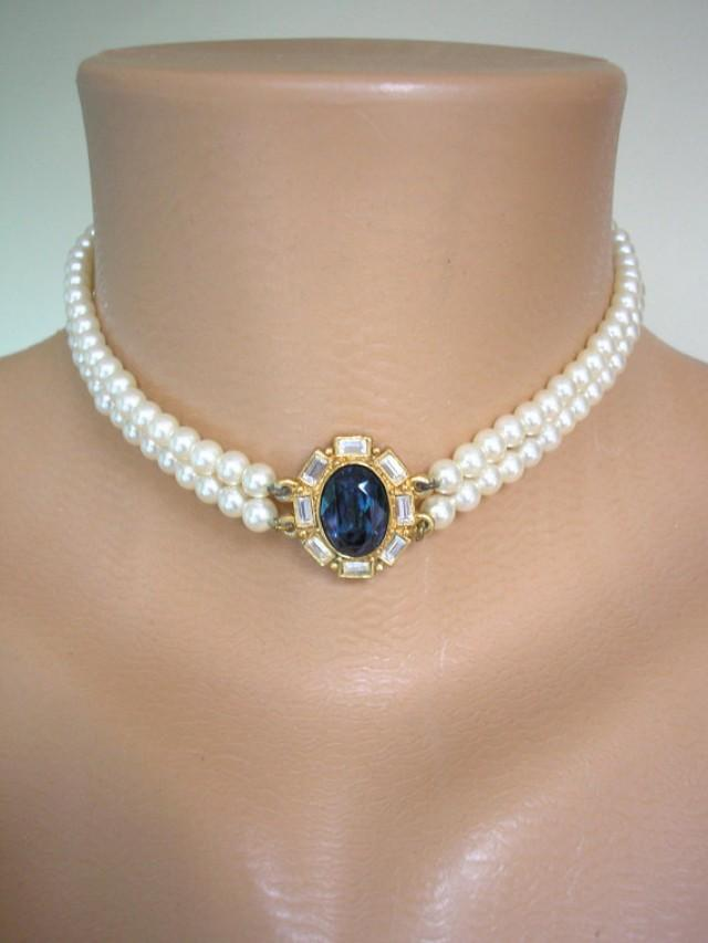 wedding photo - Sapphire Choker, Bridal Necklace, Statement Choker, Pearl Necklace, Great Gatsby, ROSITA, Pearl Choker, Bridal Jewelry, Mother Of The Bride