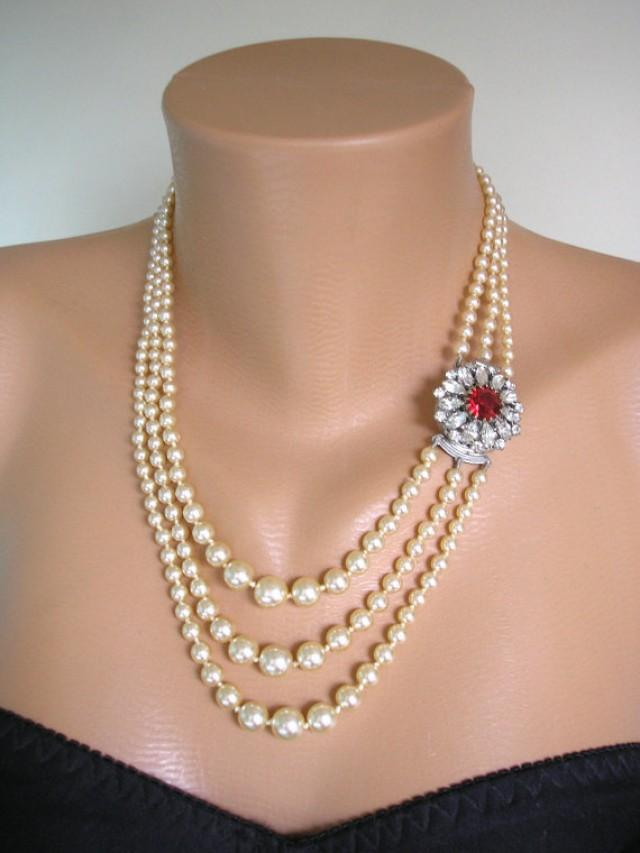 wedding photo - Pearl And Ruby Necklace, Pearl Choker, Mother of the Bride, Bridal Jewelry, Great Gatsby, 3 Strand, Ruby Choker, Wedding Jewelry, Deco