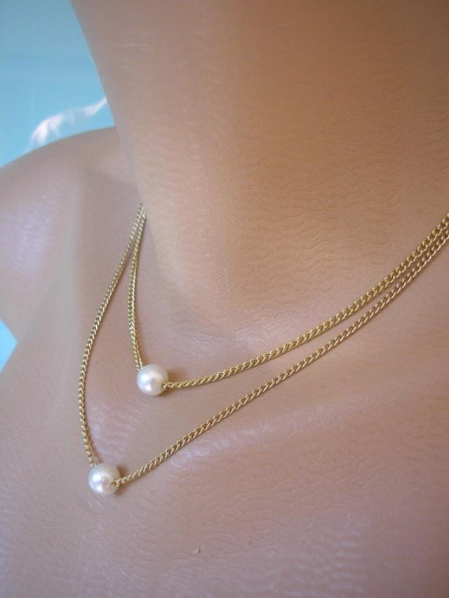 wedding photo - Minimalist Pearl Necklace, Pearl Choker, Floating Pearl Necklace, Bridesmaid Gift, Layered Jewelry, Delicate Jewelry, Double Strand, Gold