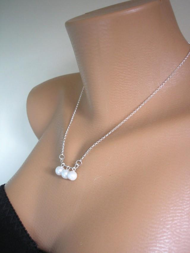 wedding photo - Three Pearl Necklace, STERLING silver, Minimalist Jewelry, Bridesmaid Gift, Wedding Choker, Floating Pearl, 3 Pearl, Pearl Jewelry, Handmade