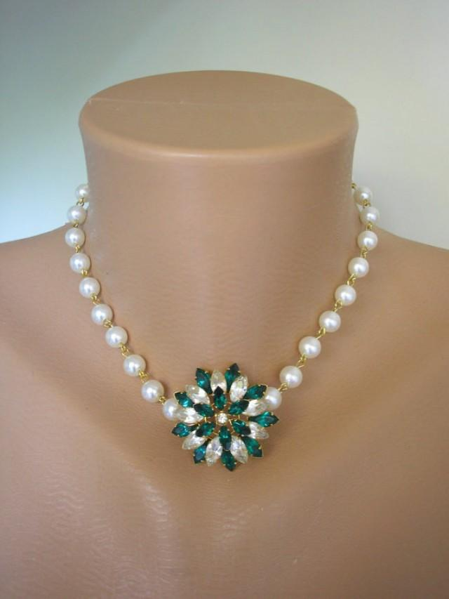 wedding photo - Pearl Necklace, Emerald Rhinestone, Emerald and Pearl, Upcycled Jewelry, Gift For Woman, Bridal Jewelry, Rockabilly, Green Jewelry, Pearls