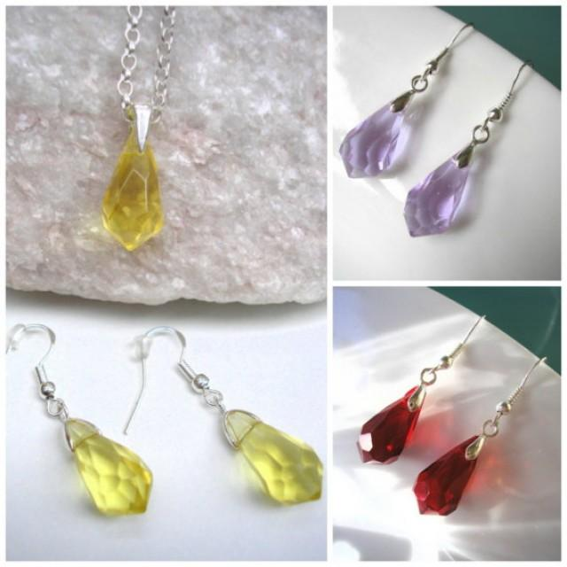 wedding photo - Crystal Jewelry Set, Sterling Silver, GIFT for Girlfriend, Gift for Woman, Necklace and Earrings, Citrine Crystal, Bridal Jewelry, 13 Colors