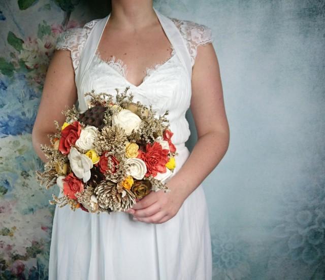 BIG ivory brown burnt orange yellow rustic autumn fall wedding BOUQUET sola flowers roses limonium lotos pine cones bell cup Burlap