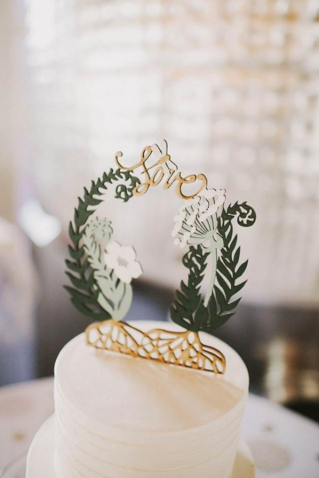 wedding photo - Greenery Wedding Cake Topper