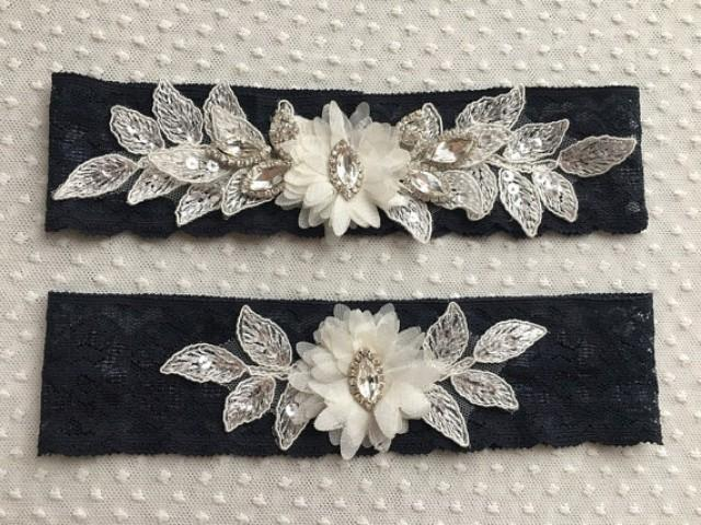 wedding photo - Wedding Garter Set- ivory navy blue Bridal Garter Set - Keepsake Garter- Toss Garter- Lace Garter- Garter- Wedding Garter- Bridal Garter-