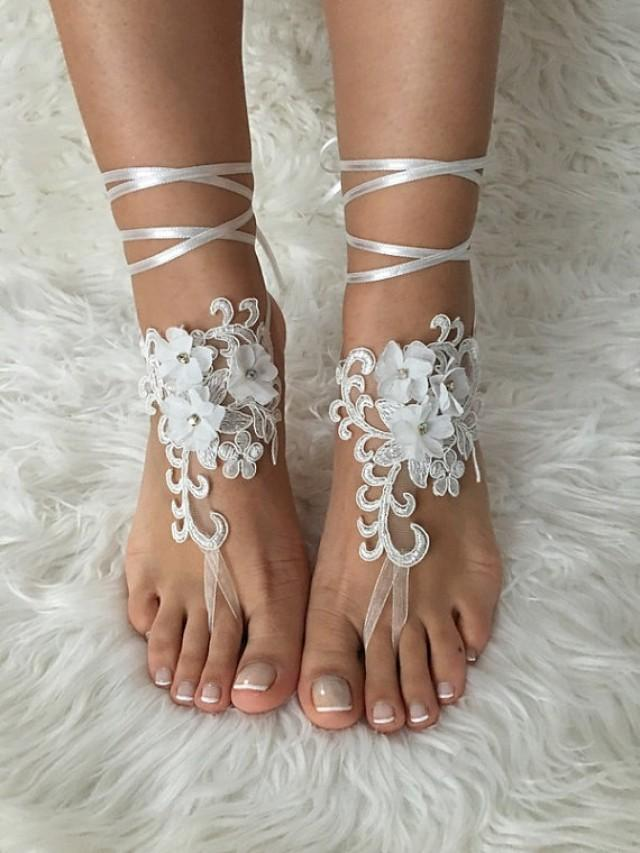 wedding photo - Beach wedding barefoot sandals FREE SHIP 3D floral sandals, ivory Barefoot , french lace sandals, wedding anklet,