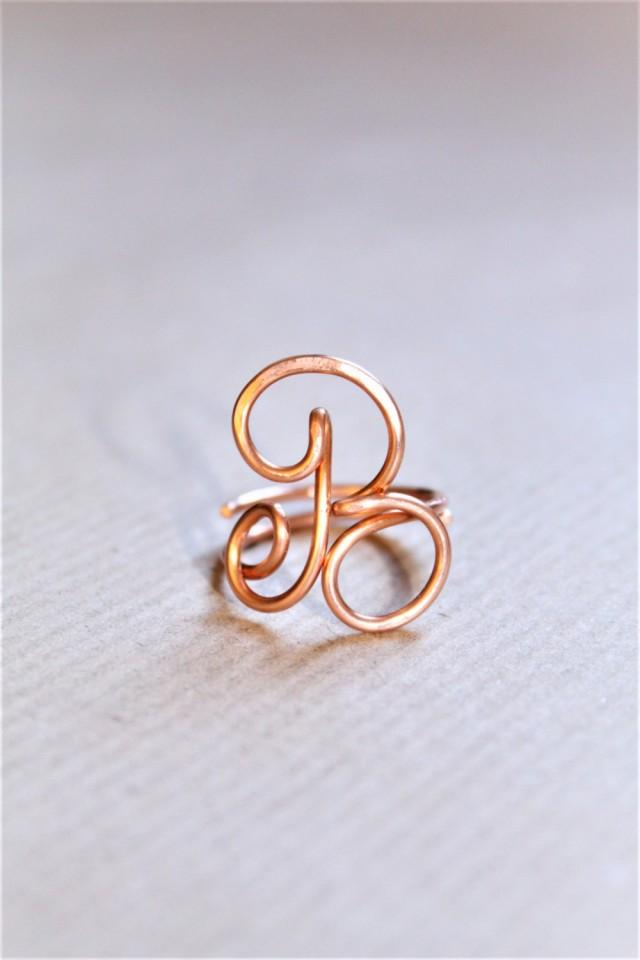 Initial Ring, Letter A B F Ring, Personalized Wire Initial Ring ...