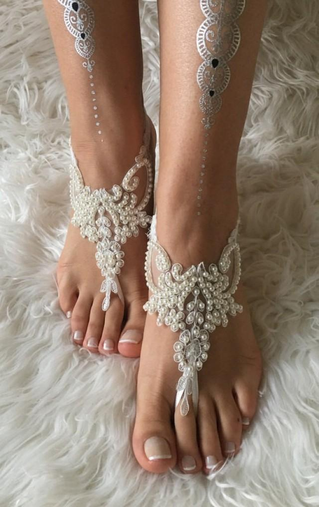 wedding photo - Ivory pearl lace barefoot sandals, FREE SHIP, beach wedding barefoot sandals, belly dance, lace shoes, bridesmaid gift, beach shoes