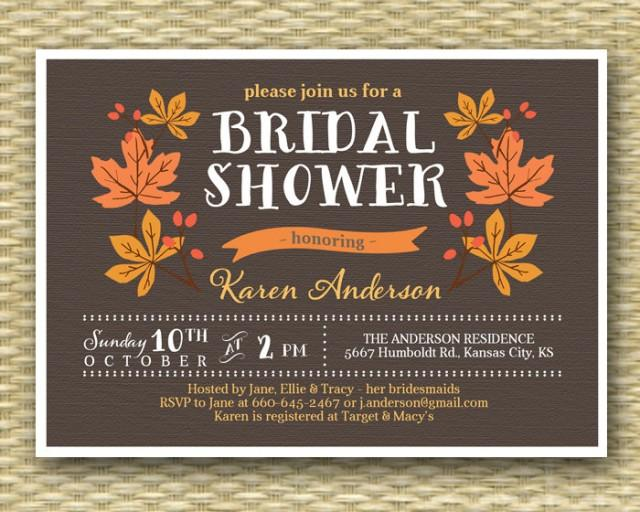Fall Bridal Shower Invitation Rustic Fall Autumn Shower Leaves Wreath, ANY EVENT, Any Colors