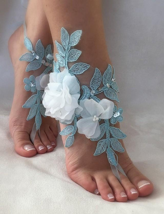 wedding photo - FREE SHIP Blue lace barefoot sandals, ivory 3D flowers beach wedding barefoot sandals, belly dance, wedding shoe, bridesmaid gift,
