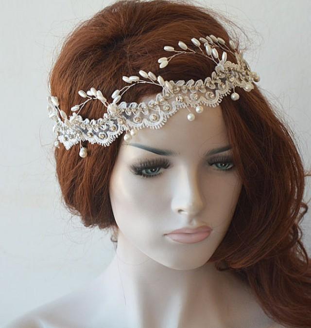 wedding photo - Wedding Headband, Ivory Lace and Pearl Headpiece, Pearl Bridal Headpiece, Wedding Hair accessory, Bridal Hair Jewelry