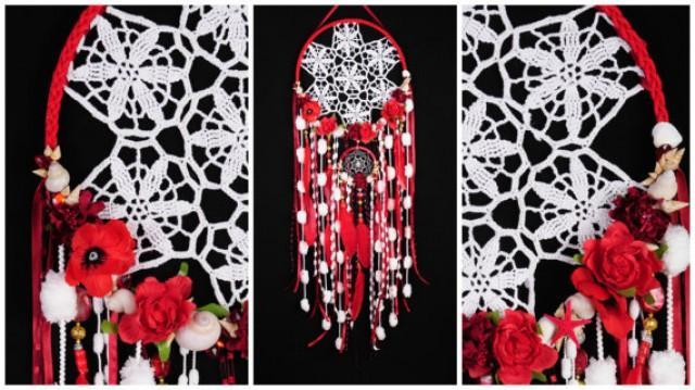 wedding photo - Red Dreamcatcher Wedding Mermaid Boho style Dreamcatcher Large Dreamcatcher boho dreamcatcher wall decor wedding Dreamcatcher Bohemian