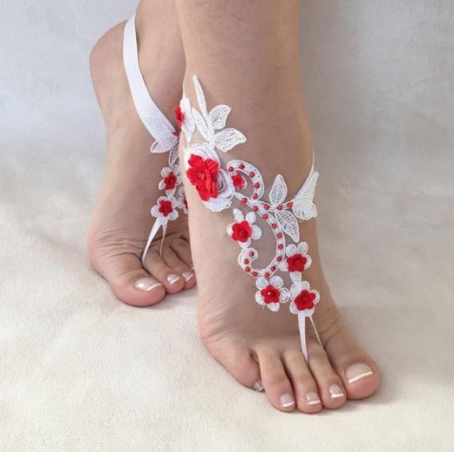 wedding photo - white red flowers lace barefoot sandals, FREE SHIP, beach wedding barefoot sandals, belly dance, lace shoes, bridesmaid gift, beach shoes