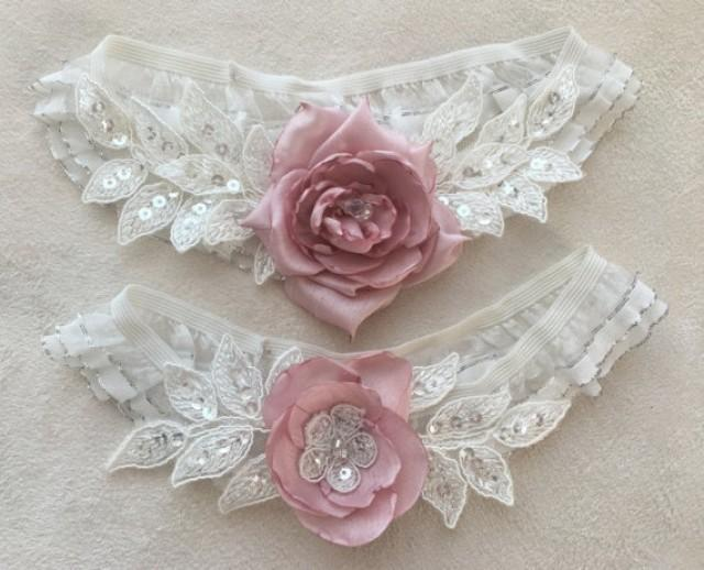 wedding photo - Wedding Garter Set- ivory pink Bridal Garter Set - Keepsake Garter- Toss Garter- Lace Garter- Garter- Wedding Garter- Bridal Garter-