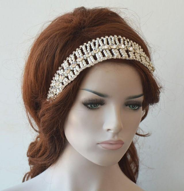 wedding photo - Bridal Pearl Headband, Wedding Hair Accessories, Pearl Headpiece, Weddings Hair, Bridal Hair Jewellery