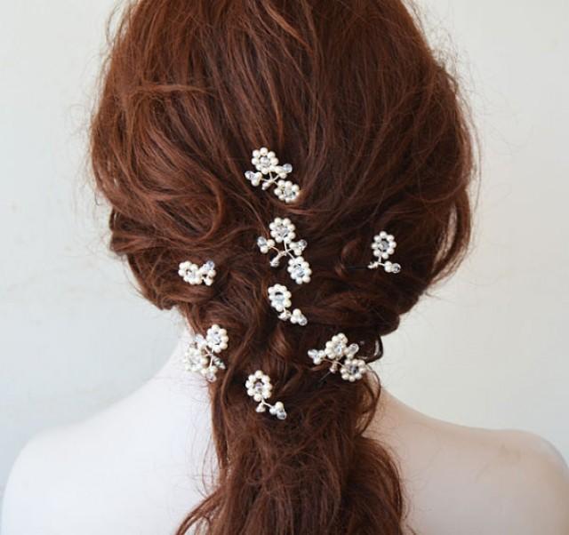 wedding photo - Bridal Pearl Hair pins, Hair Pins, Wedding Hair Pins Pearl, Wedding Accessories, Hair Accessories, Set of 8 Pearl Hair Pins, Hair Pins