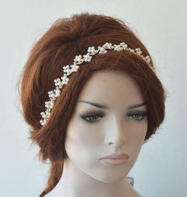 wedding photo - Bridal Pearl Headband, Pearl Headpiece, Wedding Hair Accessories, Hair Jewelry, Wedding Headpiece, Hair Accessories