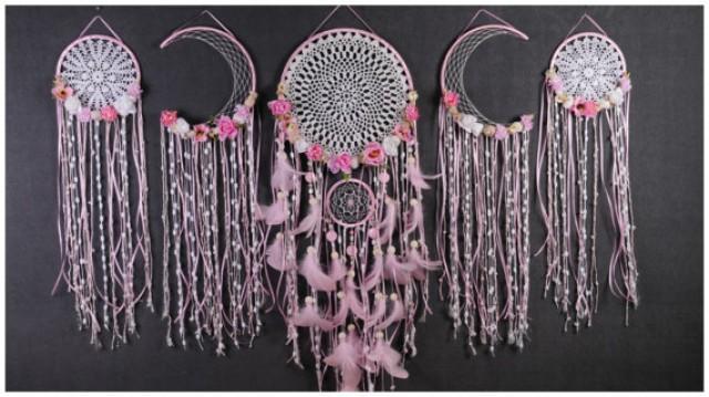 wedding photo - Set Pink Dreamcatcher Dream Catcher Large Girl Dreamcatcher crochet gift Valentine Day boho dreamcatcher gift wedding Dreamcatcher Bohemian