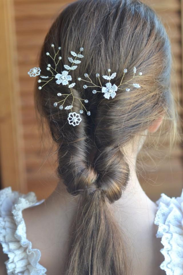 wedding photo - Ivory lace bridal hair pins Set of two Gold Hair pins Pearl crystals headpiece Lace floral romantic wedding Flower pins