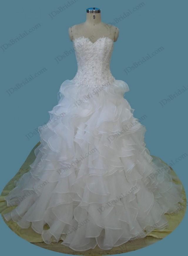 wedding photo - Sweetheart neck lace bodice ruffles ball gown wedding dress