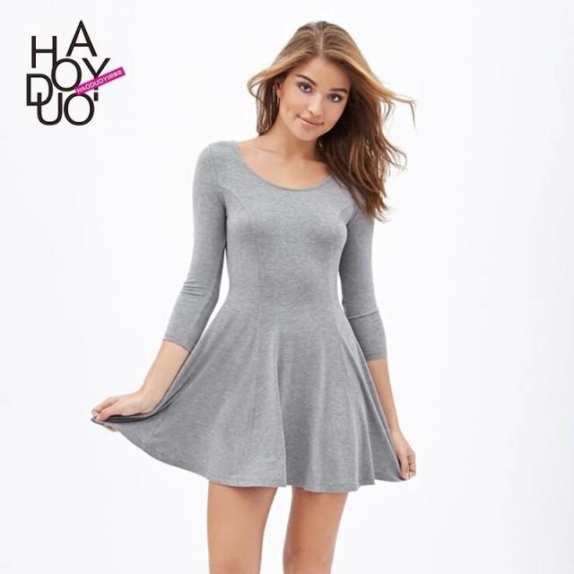 Sweet autumn new Hepburn character slim solid color base a-skirt dress girls - Bonny YZOZO Boutique Store