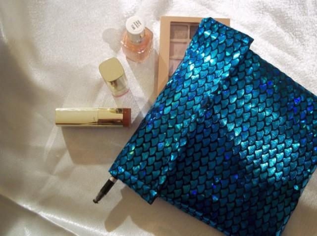 wedding photo - Mermaid Makeup Bag, Mermaid Cosmetic Bag, Cosmetic Bag, Makeup Bag, Mermaid Gifts, Mermaid Bag, Blue Mermaid Pouch, Bridesmaid Gifts, Bags