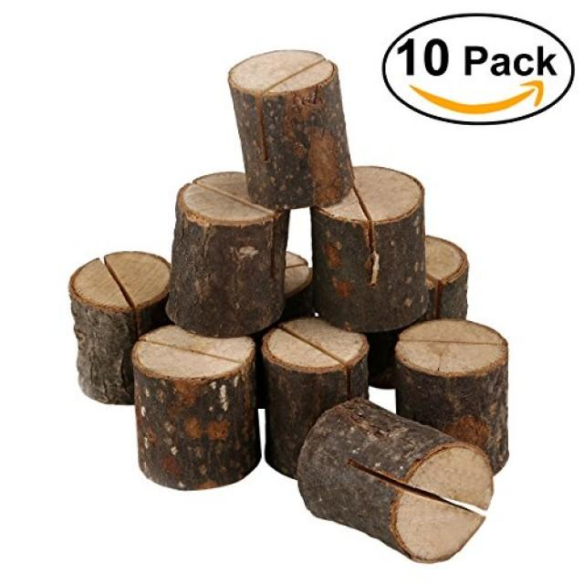 wedding photo - Beter Gifts® OULII Wedding Place Wooden Card Holders Table Number Stands for Home Party Decorations Pack of 10