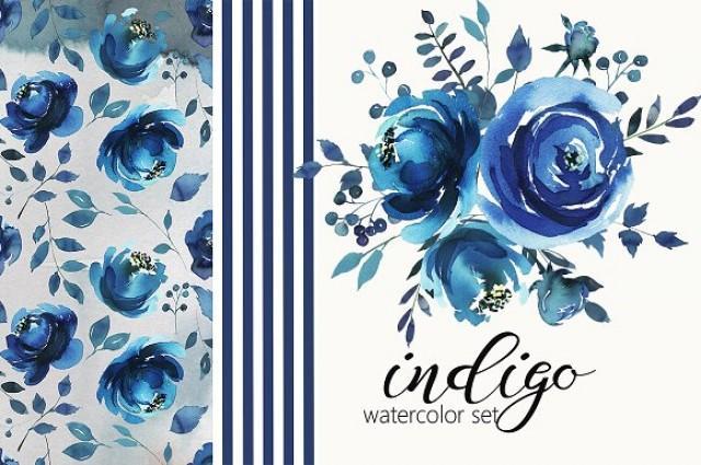 wedding photo - Indigo Watercolor Floral Design Set